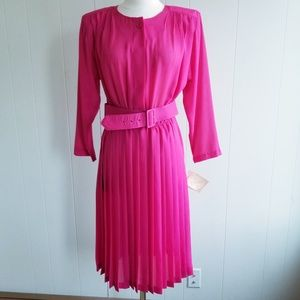 NWT1980s Sandy Sandy, Made in USA, Pink Poly Dres